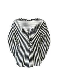 Blusa de Manga Corta de Rayas Horizontales Blanca y Negra de Societe Anonyme