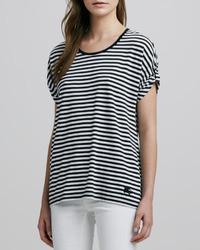 Blusa de manga corta de rayas horizontales en blanco y negro de Burberry