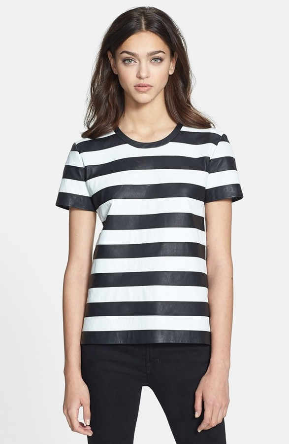 venta barata ee. muchos estilos mejor online $625, Blusa de manga corta de rayas horizontales en blanco y negro de Theory