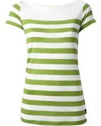 Blusa de manga corta de rayas horizontales en blanco y verde de Burberry