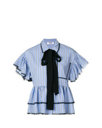 Blusa de manga corta de rayas verticales celeste de MSGM