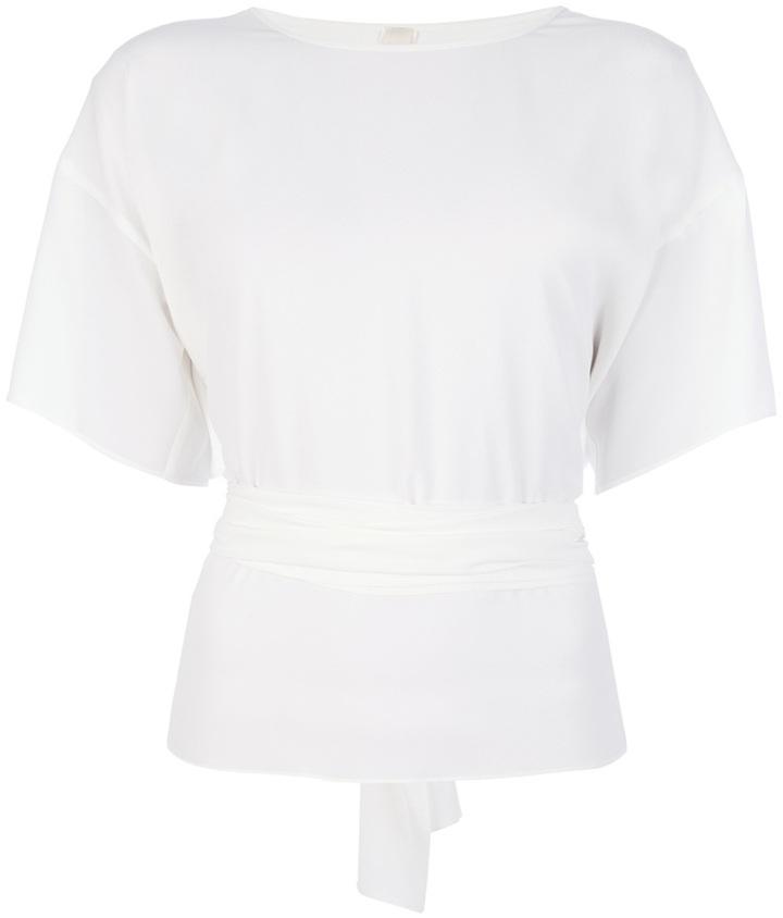 Blusa de manga corta de seda blanca de Anne Valerie Hash
