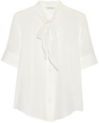 Blusa de manga corta de seda blanca de Marc Jacobs