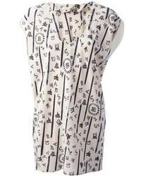 Blusa de manga corta de seda estampada blanca de Balenciaga