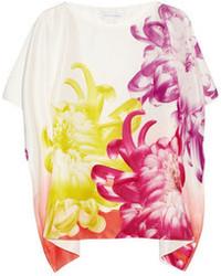Blusa de manga corta de seda estampada blanca de Diane von Furstenberg