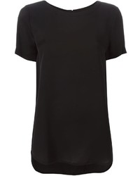 Blusa de manga corta de seda negra de MICHAEL Michael Kors