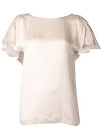 Blusa de manga corta en beige de Lanvin