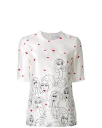 Blusa de manga corta estampada blanca de Victoria Victoria Beckham