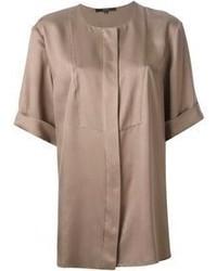 Blusa de manga corta marrón de Gucci