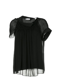 Blusa de manga corta negra de Lanvin