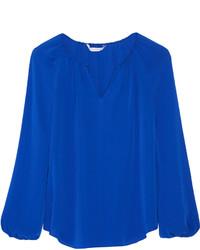 Blusa de manga larga azul de Diane von Furstenberg