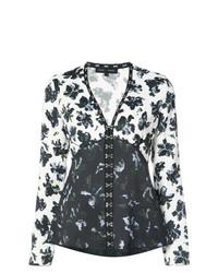 Blusa de manga larga con print de flores en blanco y azul marino de Proenza Schouler