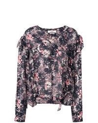 Blusa de manga larga con print de flores en multicolor