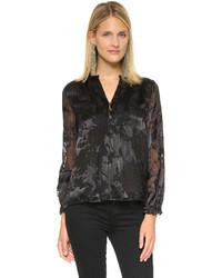 Blusa de manga larga con print de flores negra de Diane von Furstenberg