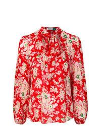 Blusa de manga larga con print de flores roja