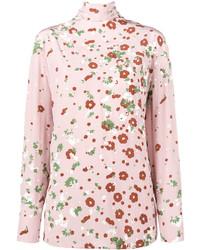 Blusa de manga larga con print de flores rosada de Valentino