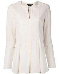Blusa de manga larga con recorte blanca