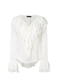 Blusa de manga larga con volante blanca