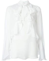 Blusa de Manga Larga Con Volante Blanca de Givenchy