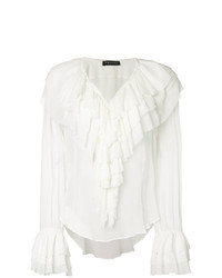 Blusa de manga larga con volante blanca de Twin-Set