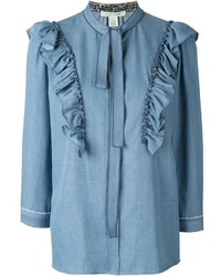 Blusa de manga larga con volante celeste de Marc Jacobs