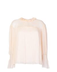 Blusa de manga larga con volante en beige de See by Chloe