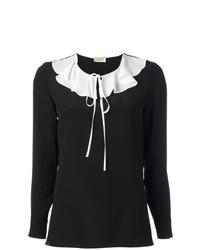 Blusa de manga larga con volante negra de Saint Laurent