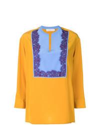 Blusa de manga larga de encaje amarilla