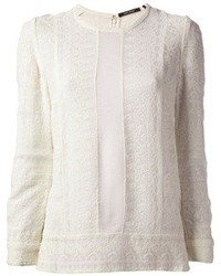 Blusa de manga larga de encaje blanca de Isabel Marant