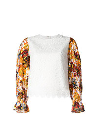 Blusa de manga larga de encaje blanca de MSGM
