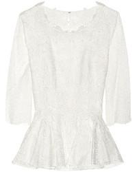 Blusa de manga larga de encaje blanca de Oscar de la Renta