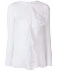 Blusa de manga larga de encaje con volante blanca de Givenchy