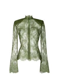Blusa de manga larga de encaje verde oliva de Off-White