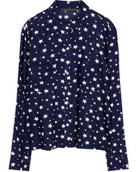 Blusa de manga larga de estrellas azul marino