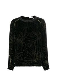 Blusa de Manga Larga de Flores Negra de Chloé