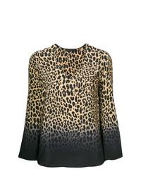 Blusa de manga larga de leopardo marrón claro de Etro