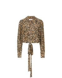 Blusa de manga larga de leopardo marrón de Dvf Diane Von Furstenberg