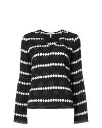 Blusa de manga larga de rayas horizontales en negro y blanco de Derek Lam 10 Crosby