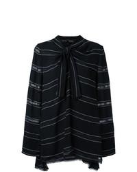 Blusa de manga larga de rayas horizontales negra de Proenza Schouler