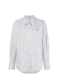 Blusa de manga larga de rayas verticales blanca de MSGM