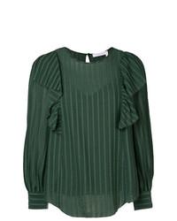 Blusa de manga larga de rayas verticales verde oscuro de See by Chloe