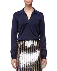 Blusa de manga larga de satén azul marino de Marc Jacobs