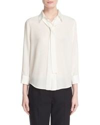 Blusa de manga larga de seda blanca de Marc Jacobs
