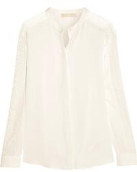 Blusa de manga larga de seda blanca de MICHAEL Michael Kors