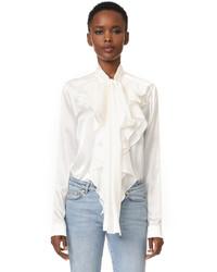 Blusa de manga larga de seda con volante blanca de Faith Connexion