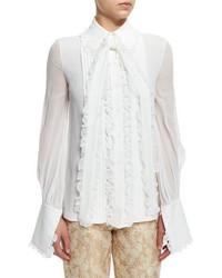 Blusa de manga larga de seda con volante blanca de Michael Kors