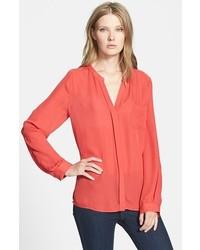 Blusa de manga larga de seda naranja de Joie