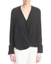 Blusa de manga larga de seda negra de 3.1 Phillip Lim