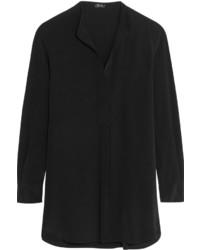 Blusa de manga larga de seda negra de Joseph