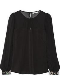 Blusa de manga larga de seda negra de Milly